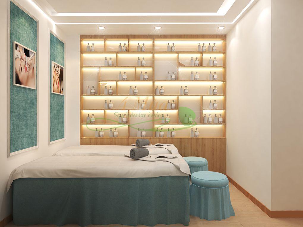 Mẫu tủ trưng bày mỹ phẩm cho spa
